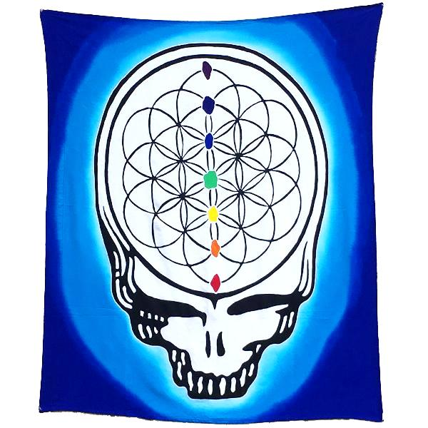Blue Batik Steal Your Face Flower of Life Tapestry or Flag - 3 x 3 1/2 Feet!