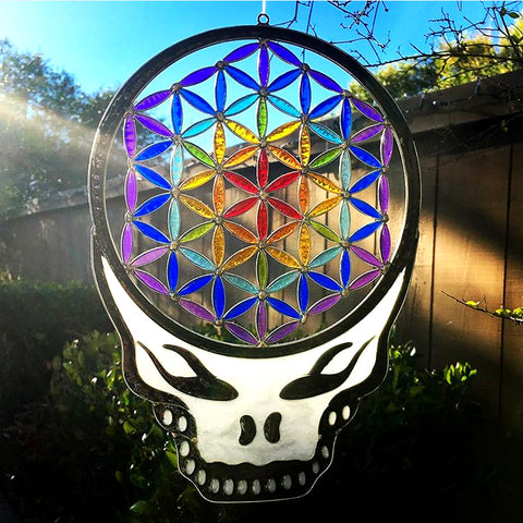 Flower Of Life Stealie Resin Sun Catcher