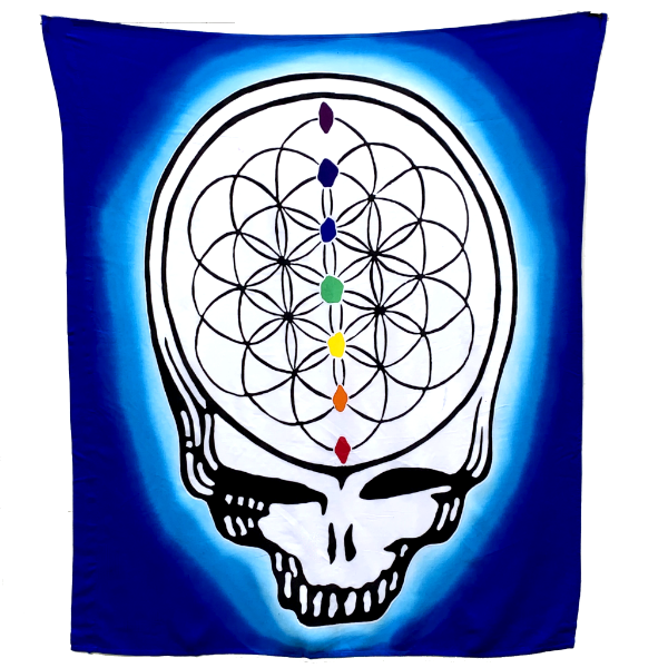 GD Inspired Batik Blue Steal Your Face Flower of Life Tapestry or Flag - 3 x 3 1/2 Feet!