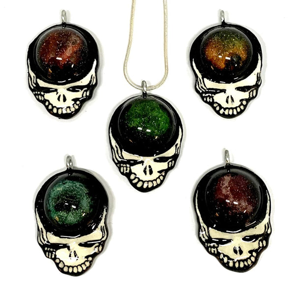 Handmade Stealie Resin Pendants on Silver Plated Chain