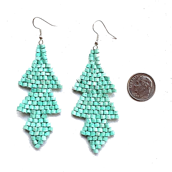 Aqua Ceramic Beaded Arrow Earrings