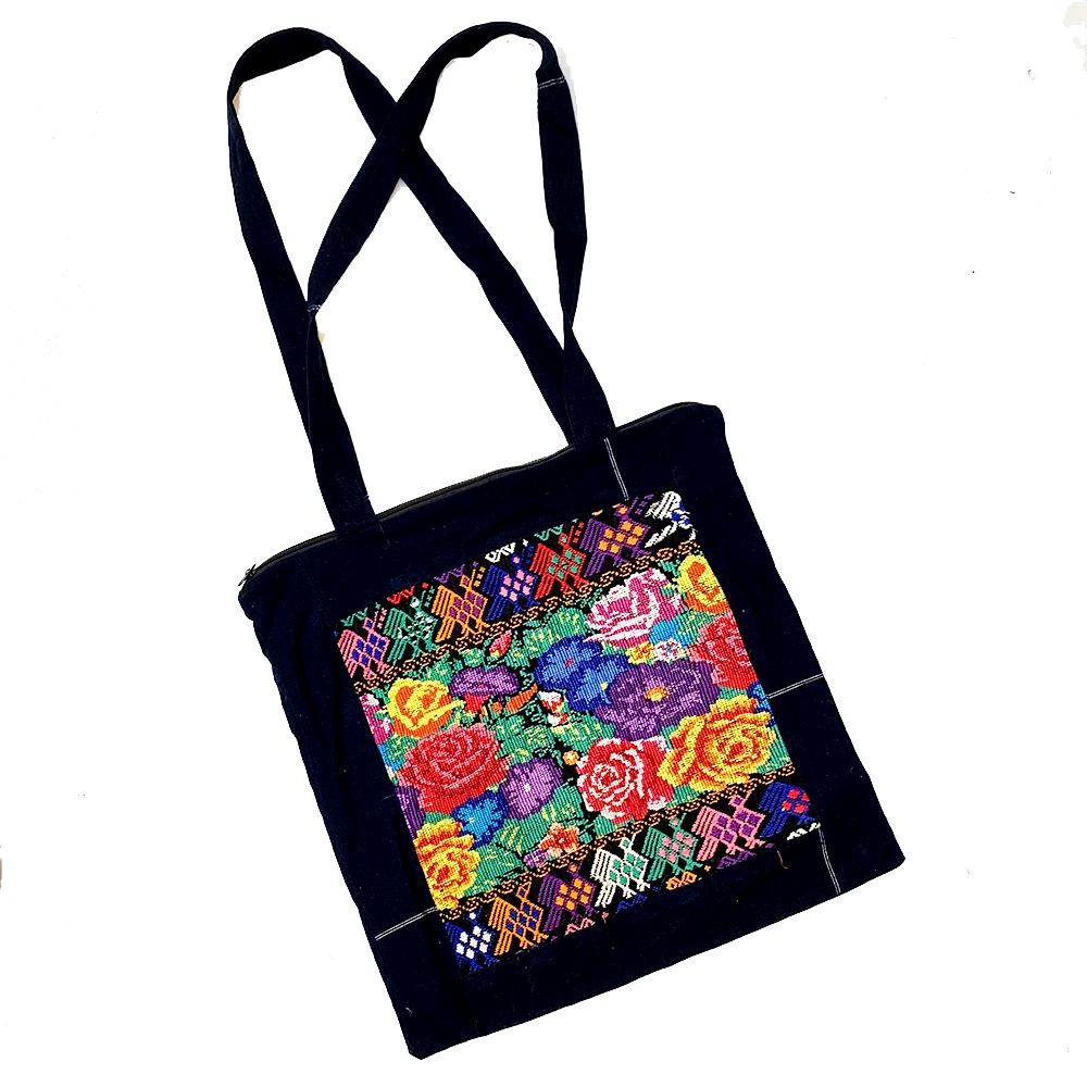 Embroidered Floral Huipil & Indigo Fabric Tote Bag