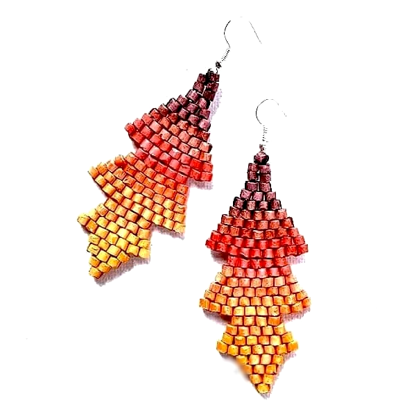 Ombre Red to Orange Ceramic Beaded Arrow Earrings