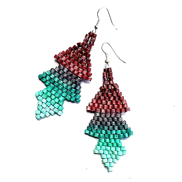 Ombre Purple to Aqua Ceramic Beaded Arrow Earrings