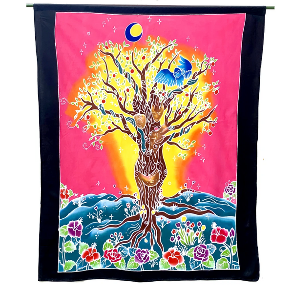 Tree of Life Batik Tapestry in Pink - 3 feet