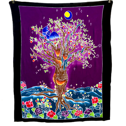 Tree of Life Batik Tapestry on Purple - 3 feet