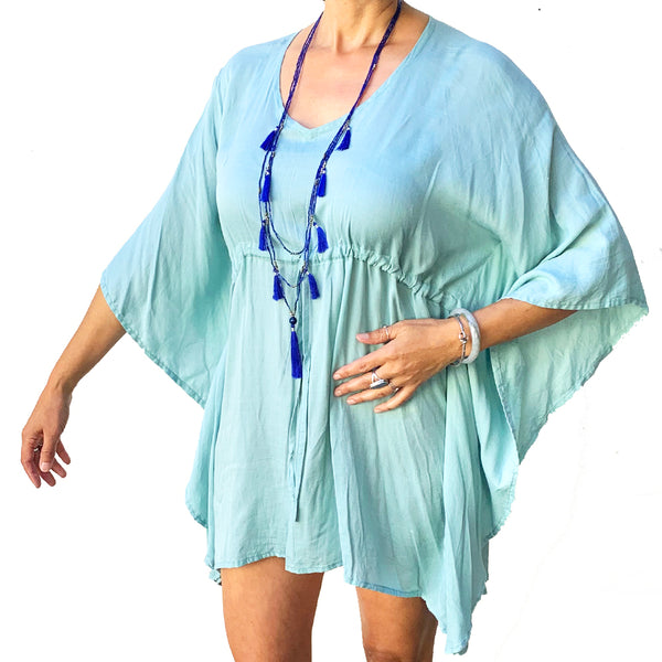 Mint Drawstring Tunic Dress / Bathing Suit Cover Up