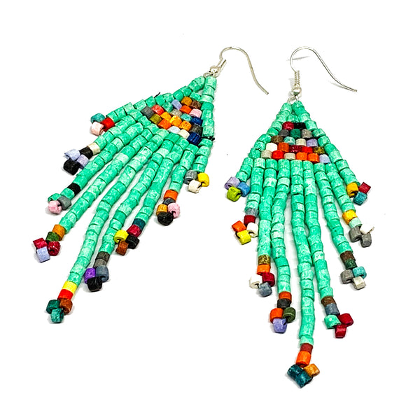 Turquoise Rainbow Beaded 9 Fringe Earrings