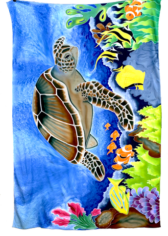 Turtle In Reef Hand Batik Sarong / Bathing Suit Cover Up