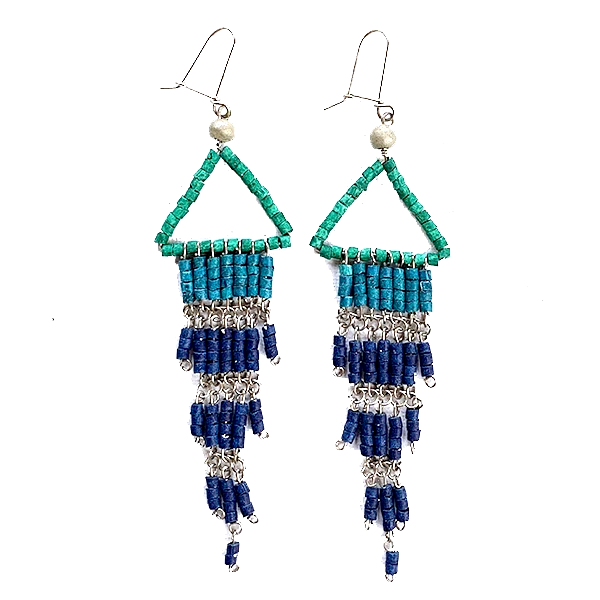 Green, Teal & Cobalt Beaded Wire Wrapped Fringe Earrings