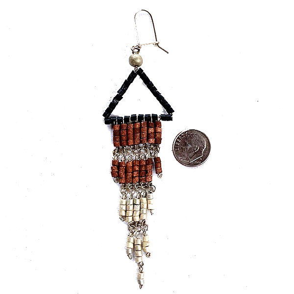 Black, Brown & Silver Beaded Wire Wrapped Fringe Earrings
