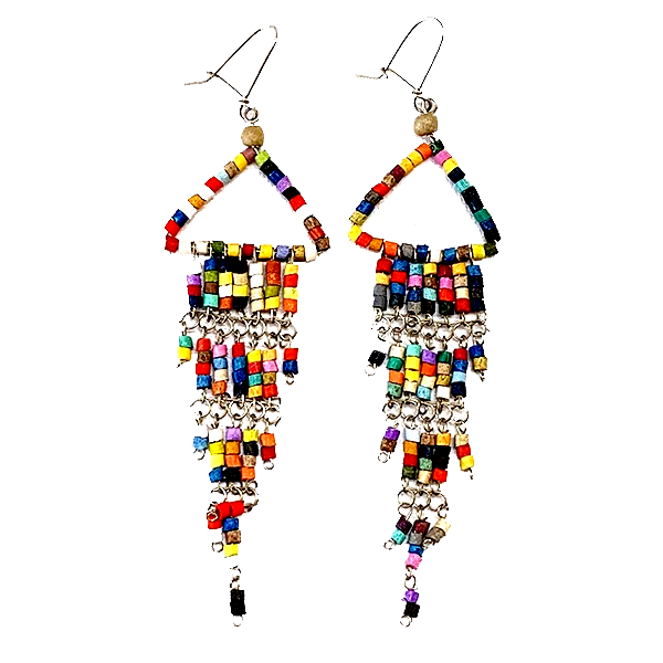 Multi Color Beaded Wire Wrapped Fringe Earrings