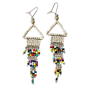 Silver & Multi Color Beaded Wire Wrapped Fringe Earrings