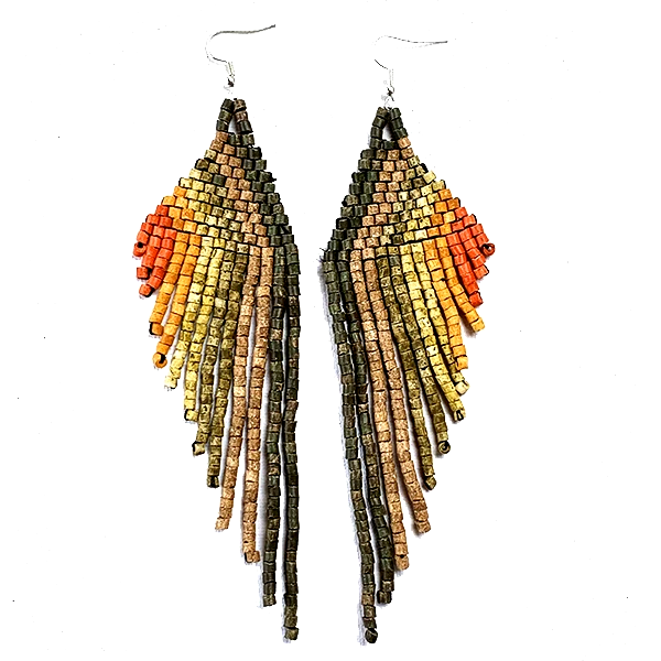 Earthy Brown to Rust Ombre Beaded Wing Style 13 Fringe Earrings - 6""