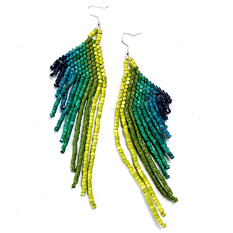 Lime, Green, Turquoise & Blue Beaded Wing Style 13 Fringe Earrings - 6""