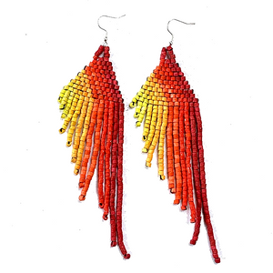 Red, Orange, Yellow & Lime Beaded Wing Style 13 Fringe Earrings - 6""