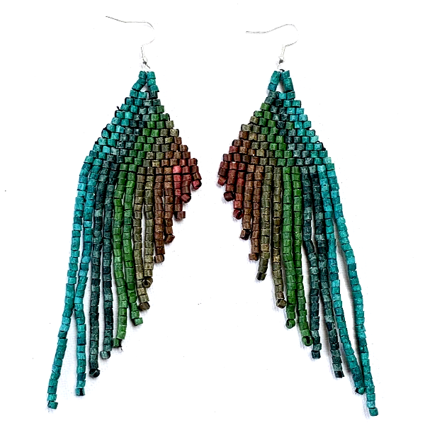Dark Teal to Plum Beaded Wing Style 13 Fringe Earrings - 6""