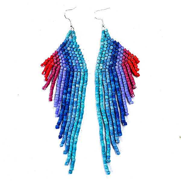 Red, Purple, Blue & Turquoise Beaded Wing Style 13 Fringe Earrings - 6""