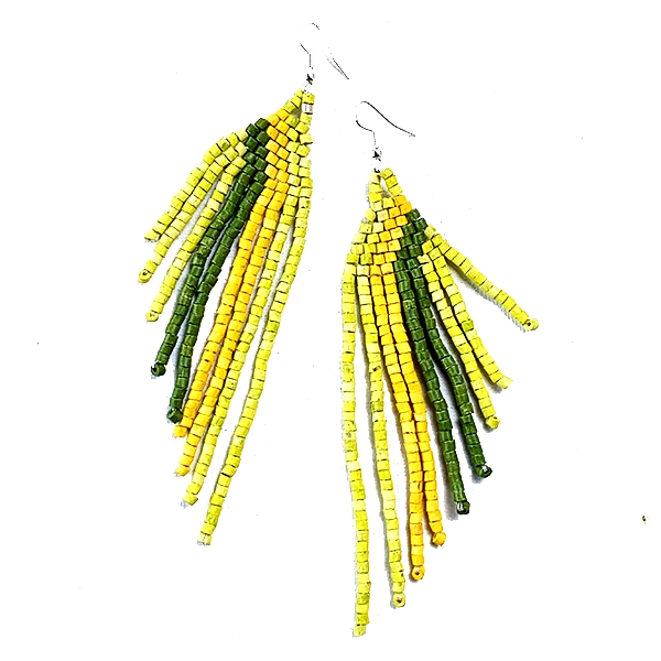 Green & Yellow Beaded Wing Style 9 Fringe Earrings - 5 1/2""