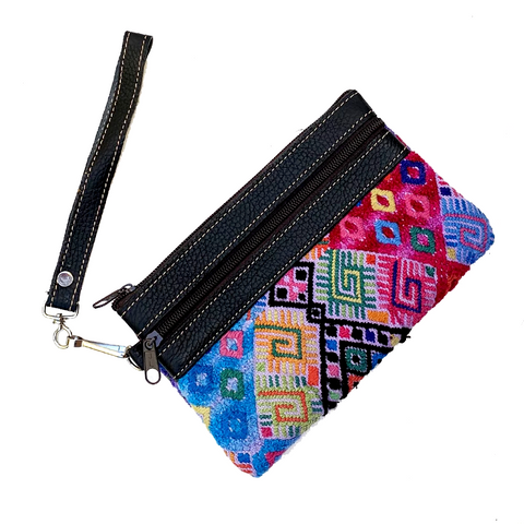 Mixed Color Vintage Huipil Fabric & Leather Clutch with Removable Wrist Strap