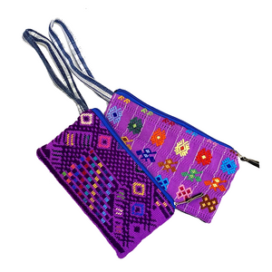 Purple Bold Geometric Guatemalan Huipil Fabric Clutch with Wrist Strap