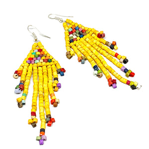 Yellow Rainbow Beaded Fringe Earrings