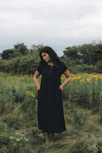 ONDINE DRESS IN BLACK LINEN