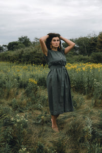 ONDINE DRESS IN PINE LINEN