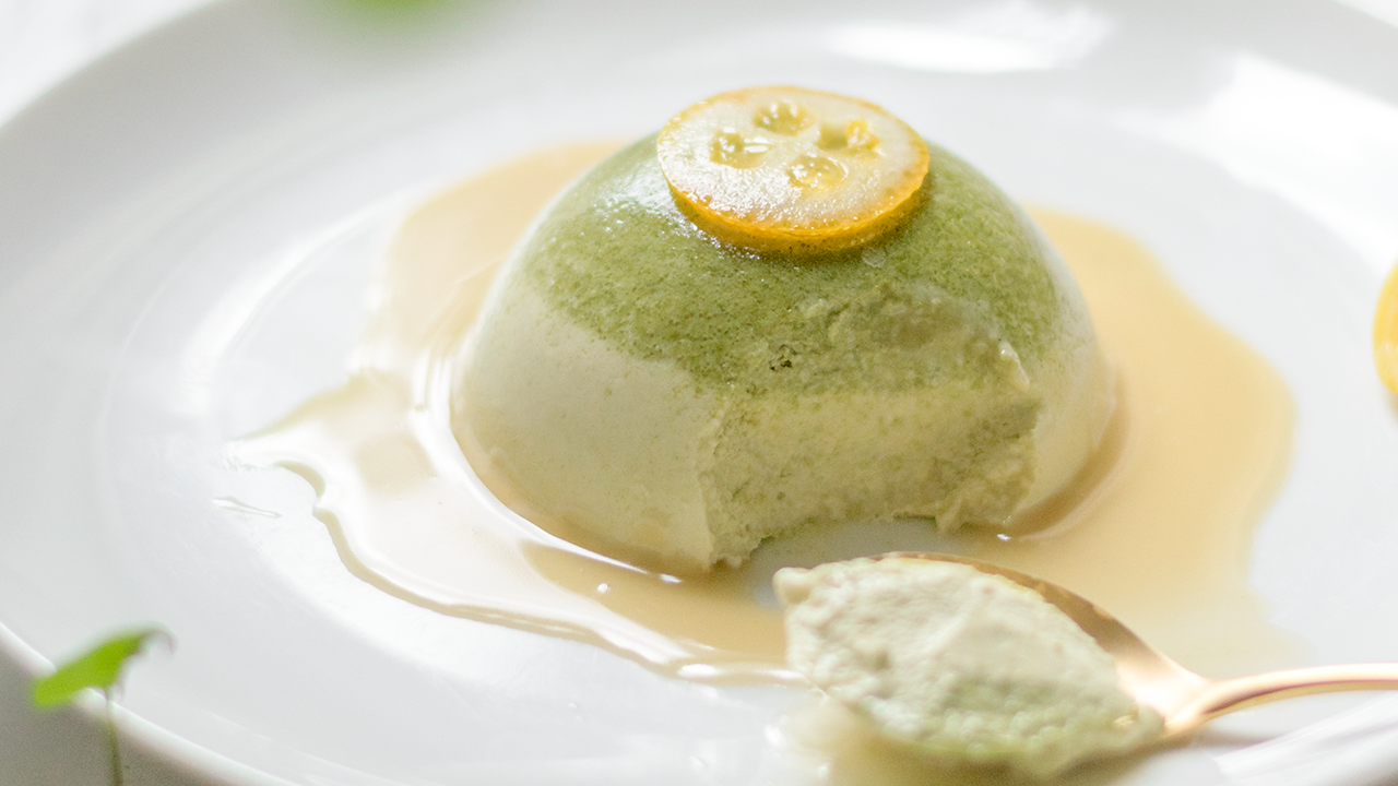 Matcha Panna Cotta With Sesame Glaze