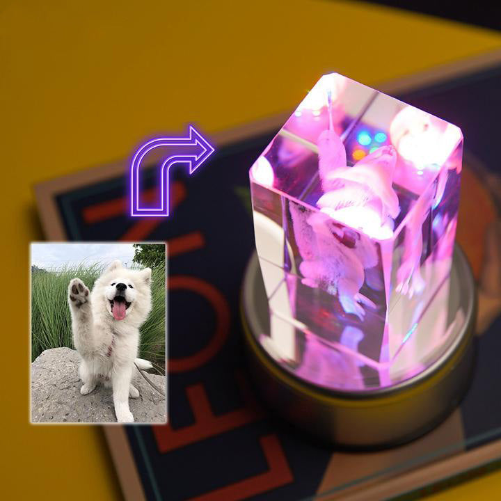 Custom 3D Photo Engraved Crystal Lamp of Your Beloved One