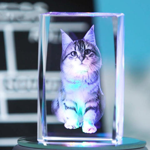 Image of Custom 3D Photo Engraved Crystal Lamp of Your Beloved One