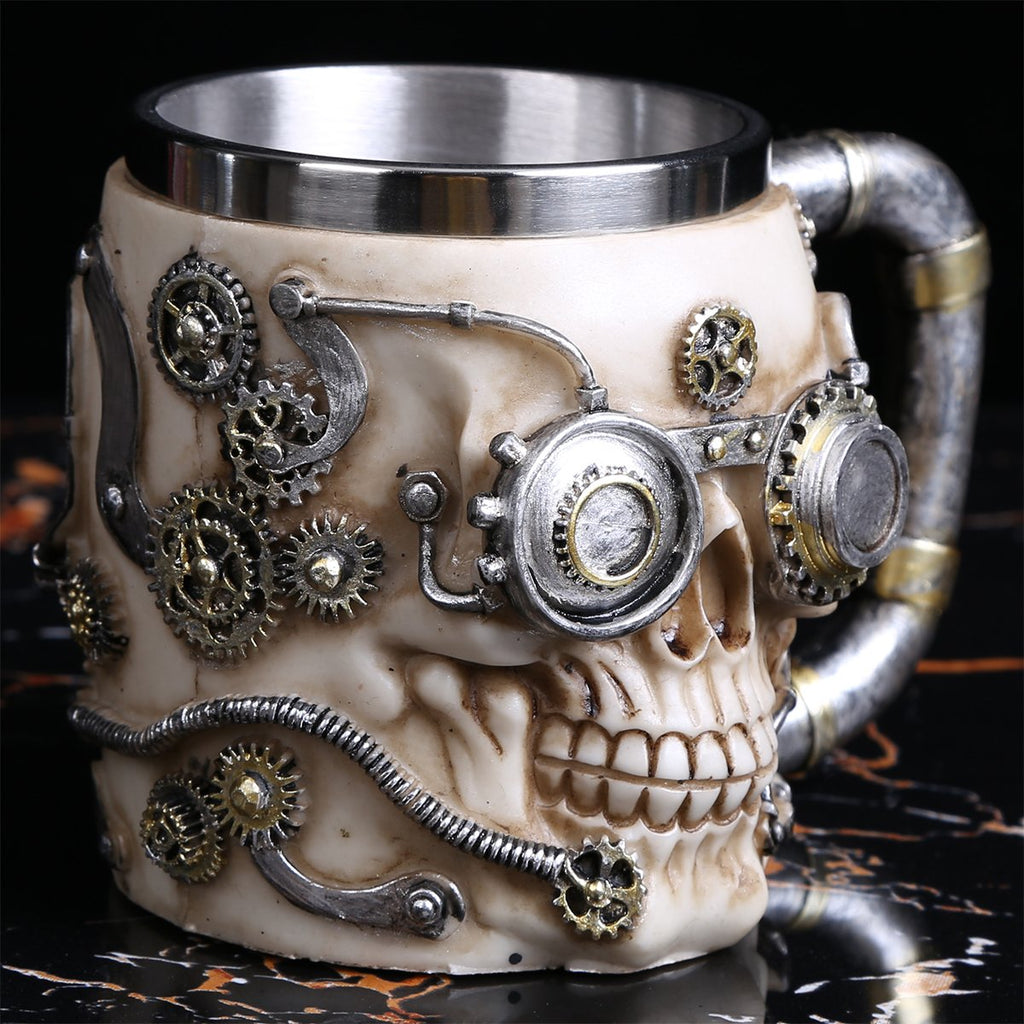 HANDCRAFTED STEAMPUNK SKULL MUG - SlickDecor.com