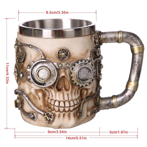 Image of HANDCRAFTED STEAMPUNK SKULL MUG - SlickDecor.com