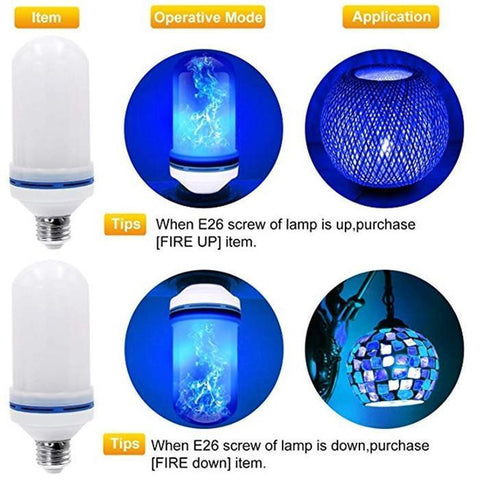 Image of LED Flame Effect Flickering Fire Light Bulb with Gravity Sensor - SlickDecor.com
