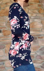 Floral Tunic Top (Taupe and Navy)