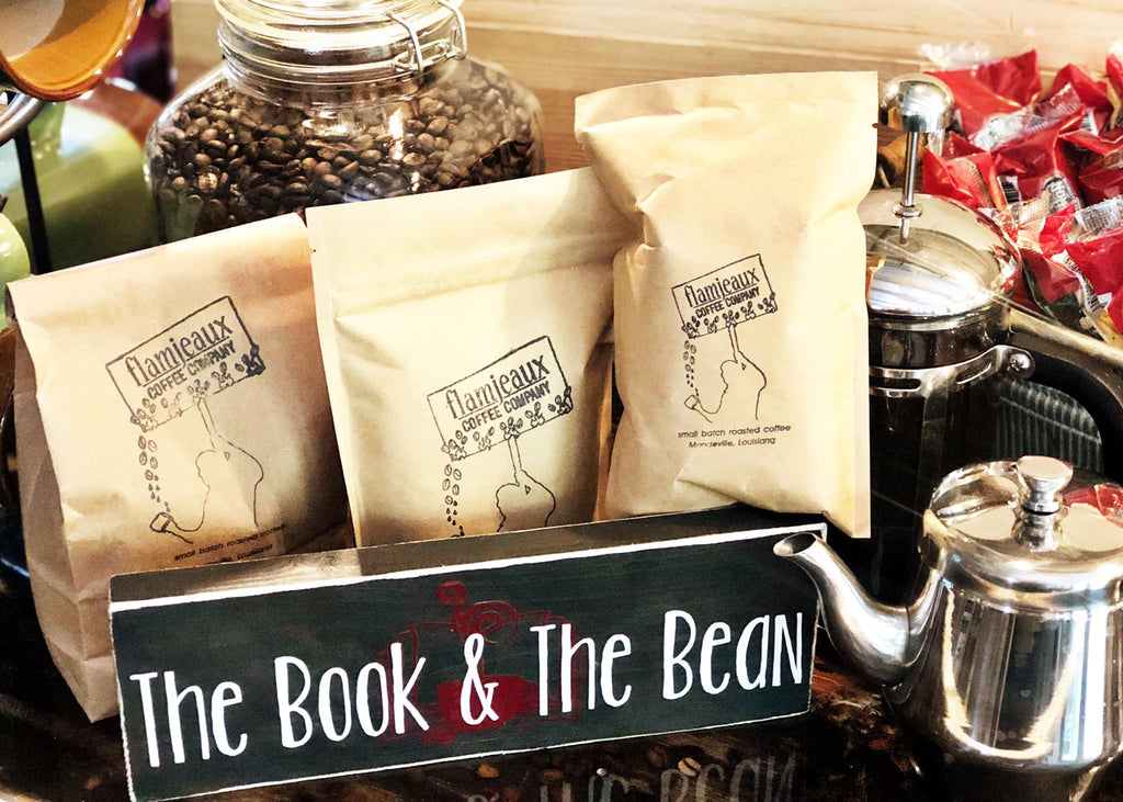 The Book & The Bean Coffees by Flamjeaux Coffee Roasters 6oz. Bags~Ground