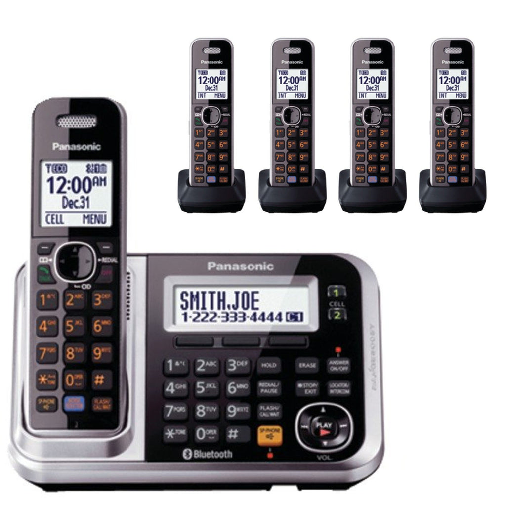 Panasonic KX-TG7875S Bluetooth Cordless Phone Link2Cell with 5 Handsets and Digital Answering Machine