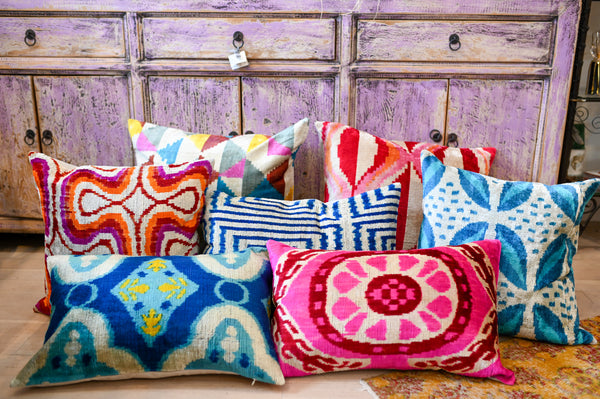 Ikat Silk Velvet Pillow Case
