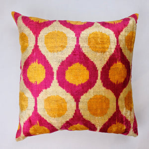 Silk Velvet Ikat Pillow Cover