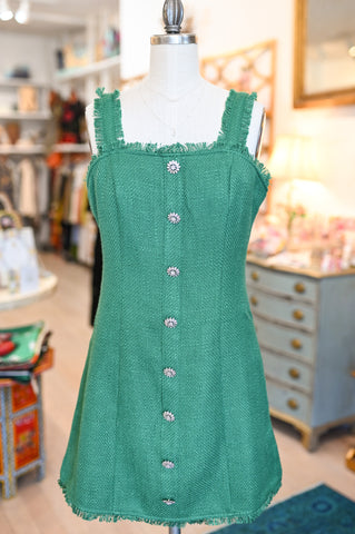 Kelly green tweed dress