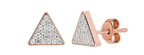 Rose Gold Crystal Triangle Studs