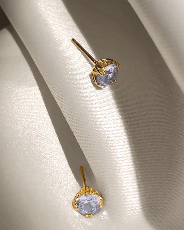 14k Gold Royal Aquamarine Studs (March Birthstone)