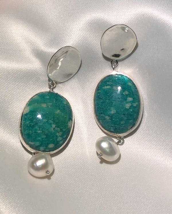 Mermaid Dark Amazonite & Pearl Earrings