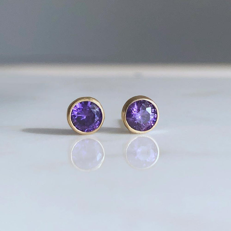 Tanzanite Studs December Birthstone - Angela Wozniak Jewellery