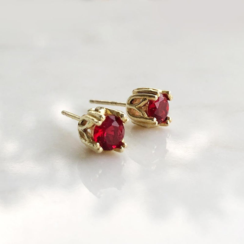 Royal Ruby Studs July Birthstone - Angela Wozniak Jewellery