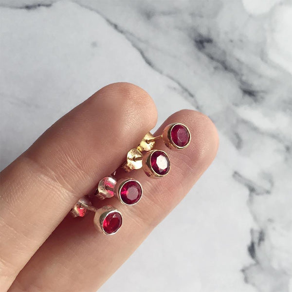 Garnet Studs January Birthstone - Angela Wozniak Jewellery