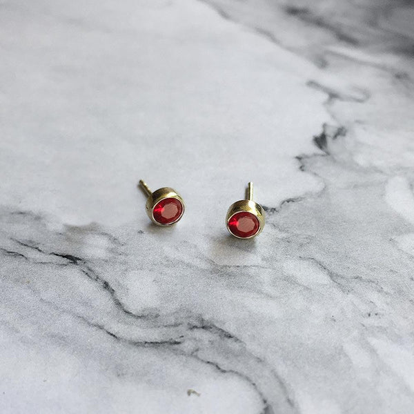 Ruby Studs July Birthstone - Angela Wozniak Jewellery