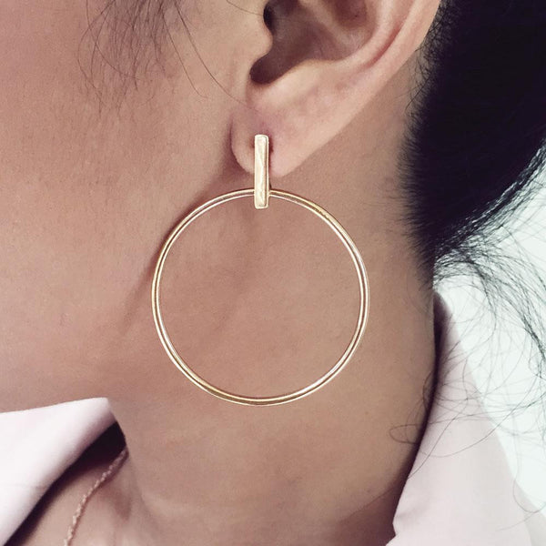 Zaha Bar Stud Hoop Earrings - Angela Wozniak Jewellery