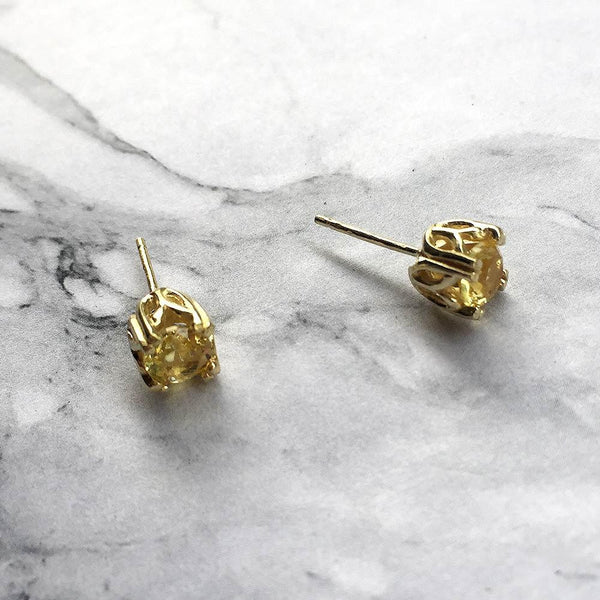 Citrine Royal Studs November Birthstone - Angela Wozniak Jewellery
