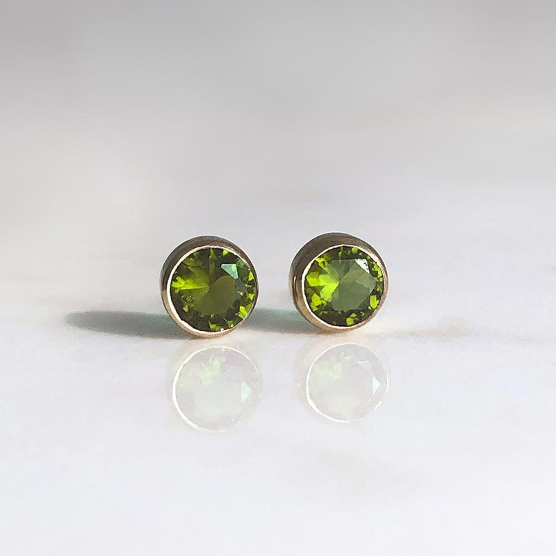Peridot Studs August Birthstone - Angela Wozniak Jewellery